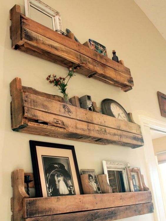 pallet shelving on wall