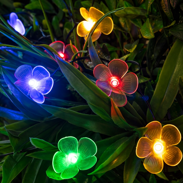 multicoloured flower fairy lights