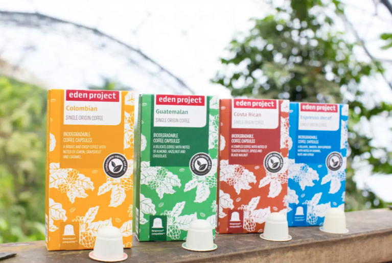Biodegradable coffee pods from The Eden Project