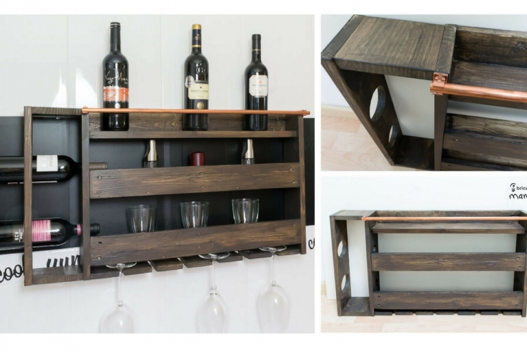 Wine rack made from pallet wood and brass