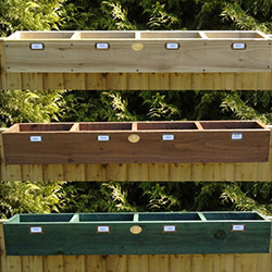 wooden window boxes for plants and herbs