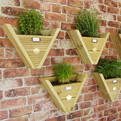 Triangular hanging wooden plant boxes