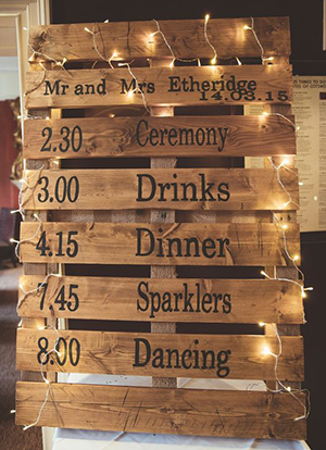 wedding order of the day on pallets
