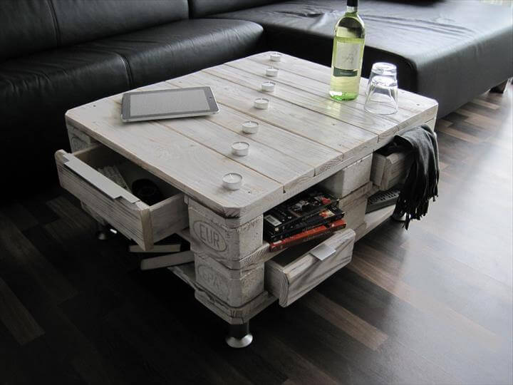 chunky pallet coffee table with drawers